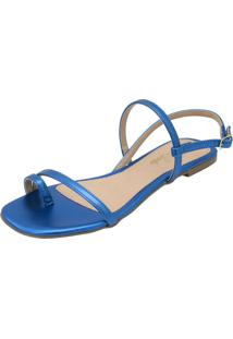 Sandã¡Lia Rasteira Donna Santa Tiras Finas Azul Metalizado - Azul - Feminino - Verniz - Dafiti