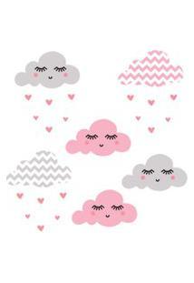 Adesivo De Parede Infantil Nuvens Chevron Rosa