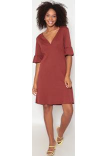 Vestido Liso Com Franzidos- Vermelho Escuro - Dzarmhering