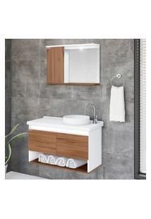 Armário Suspenso Banheiro + Pia + Espelho Aj Rorato Bérgamo 2 Portas