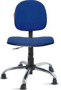 Cadeira Executiva Giratória Cromada Crepe Azul Marinho