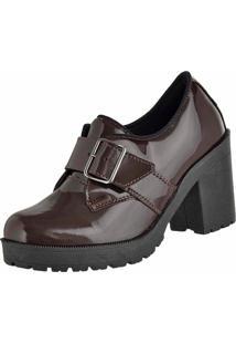 Bota Cano Curto Verniz Dr Shoes Marrom
