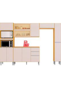 Cozinha Compacta C/ Balcão E Painel Aline-Poquema - Damasco / Off White