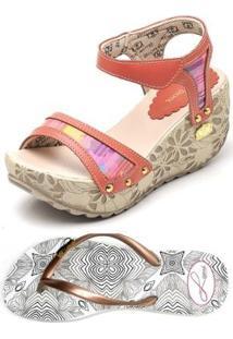Kit 2 Pares Sandalia Anabela Top Franca Shoes + Chinelo Betina Beker Siriguela Feminina - Feminino-Vermelho+Branco