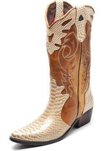 Bota Country Texana Click Calçados Montaria Couro Cano Longo Bico Fino Dourada