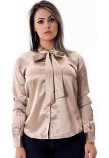 Camisa Pimenta Rosada Gola Laço Maud Le Dourada