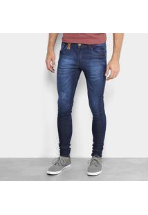 Calça Jeans Skinny Fatal Estonada Masculina - Masculino-Jeans