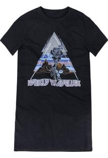 Vestido T-Shirt Curto Em Malha Com Estampa Localizada