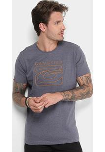 Camiseta Gangster Logo Customizado Masculina - Masculino-Cinza