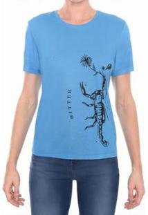 Camiseta Gola Silk Escorpião Feminina - Feminino-Azul