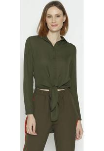 Camisa Alongada Com Fenda - Verde Escuro - Sommersommer