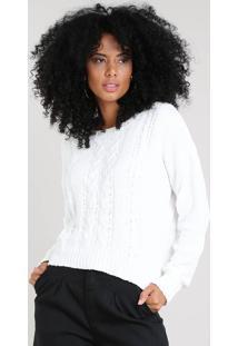 Suéter Feminino Em Tricô De Chenille Off White