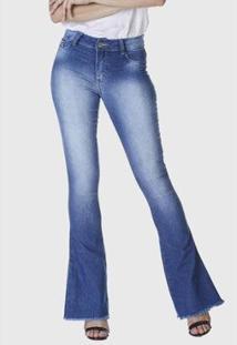 Calça Jeans Hno Jeans Flare C/ Pedras E Barra Desfiada Azul - Feminino