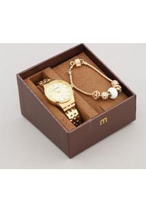 Kit De Relógio Analógico Mondaine Feminino + Pulseira - 53725Lpmgde1Kb Dourado - Único