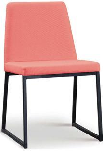Cadeira Yanka Aço Preto Linho Coral Daf