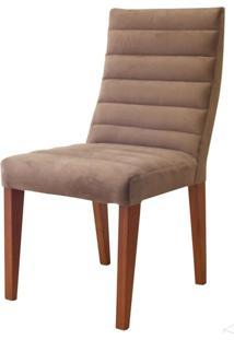 Cadeira Estofada Omega Madeira Maciça 4 Peças Amendoa-Marrom