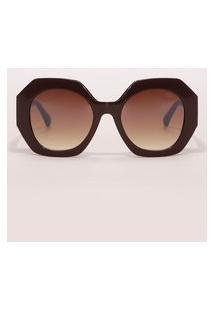 Óculos De Sol Oval Feminino Yessica Marrom