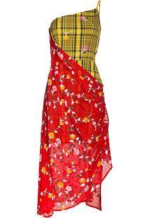 Shuting Qiu Vestido Assimétrico Com Estampa Floral E Xadrez - Amarelo