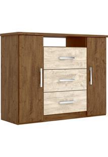 Cômoda 2 Portas 3 Gavetas Prisma Castanho Wood/Avelã - Lc Móveis
