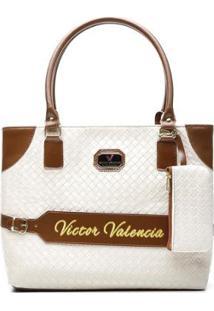 2a05f0009 Bolsa Feminina Victor Valência De Ombro Com Porta Moedas - Feminino-Branco