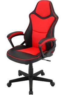 Cadeira Escritorio Denver Preta E Vermelha Estofada Em Pu - 43963 - Sun House