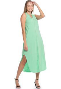 Vestido Feminino Midi Básico Verde