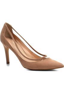 Scarpin Couro Shoestock Salto Alto Vinil - Feminino-Nude