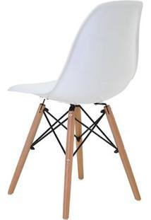 Cadeira Eames Eiffel Rivatti Sem Braço Pp Base Madeira Branco