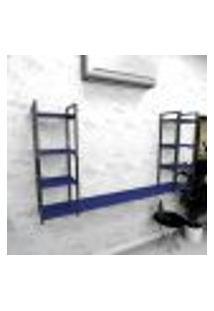 Estante Industrial Escritório Aço Cor Preto 180X30X98Cm (C)X(L)X(A) Cor Mdf Azul Modelo Ind53Azes