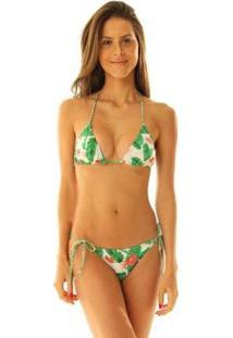Conjunto Biquíni Brazil Del Mar Cortininha Tranças - Feminino-Verde+Branco