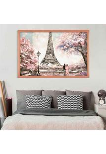Quadro Love Decor Com Moldura Primavera Em Paris Rose Metalizado Médio