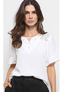 Blusa Ms Fashion Renda Aplicação Feminina - Feminino-Branco