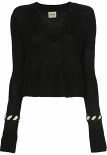 Khaite Suéter De Lã Com Costura Contrastante - Preto