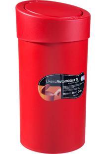Lixeira 9L Com Acionamento Automático Da Tampa E Borda Para Esconder Saco De Lixo, Cor Vermelha - Coza