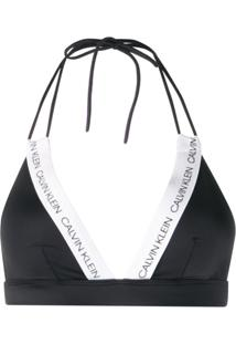 Calvin Klein Sutiã De Biquíni Cortininha Com Logo Ck - Preto