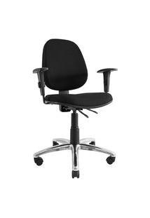 Cadeira Ergonômica Comfort. Ajuste Lombar. Média. Tecido. Base Alumínio. Braços Reguláveis. Prolabore Produtos Ergonômicos