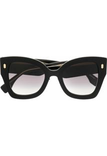 Fendi Eyewear Óculos De Sol Oversized Com Lentes Degradê - Preto