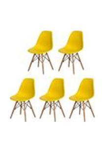 Kit 5 Cadeiras Charles Eames Eiffel Amarela Base Madeira Sala Cozinha Jantar