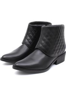 Bota Ankle Boot Couro Venetto Feminina Salto Quadrado Lapela Matelassê Preto