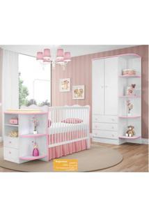 Quarto De Bebê Completo Doce Sonho Qmovi 2 Peças Berço Com Cantoneira E Roupeiro Branco Rosa