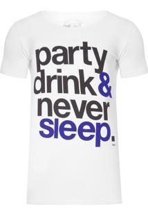 Camiseta Masculina Never Sleep - Branco