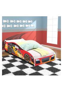 Cama Solteiro Carro Drift - Vermelho/Branco - Rpm Móveis