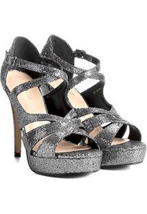 Sandália Couro Shoestock Meia Pata Cruzada Feminina - Feminino-Chumbo