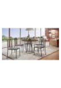 Conjunto De Mesa De Jantar Marrocos Com Tampo Mocaccino E 5 Cadeiras Atos Linho Cinza E Café