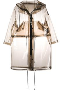 Moncler Drawstring Details Midi Raincoat - Neutro