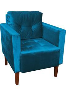 Poltrona Decorativa Lívia Para Sala E Recepção Suede Acetinado Azul - D'Rossi