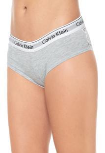Calcinha Calvin Klein Underwear Boyshort Modern Cinza/Branca