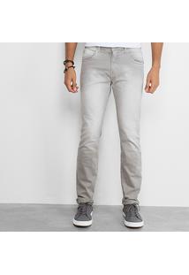 Calça Skinny Triton Sarja Color Estonada Masculina - Masculino-Cinza