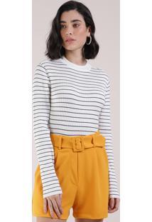 Suéter De Tricô Feminino Básico Listrado Decote Redondo Off White
