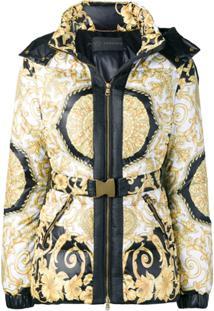 Versace Jaqueta Matelassê Estampada Com Capuz - Branco